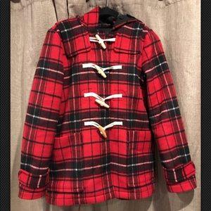 Women's GAP wool blend toggle plaid coat medium m